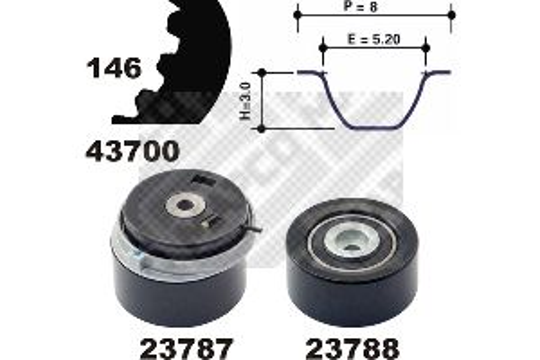 MAPCO  23700 Timing Belt Set Width: 24mm