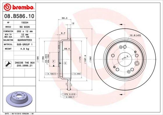 Bremsscheiben 08.B586.10 BREMBO 08.B586.10 in Original Qualität