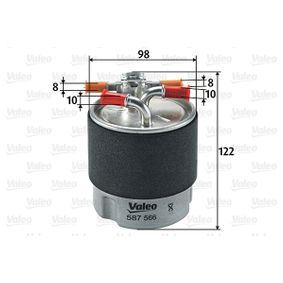 Fuel filter Height: 122mm with OEM Number 1640 0JY 09D