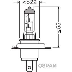 Glühlampe, Fernscheinwerfer H4, 60/55W, 12V 64193NR1-01B