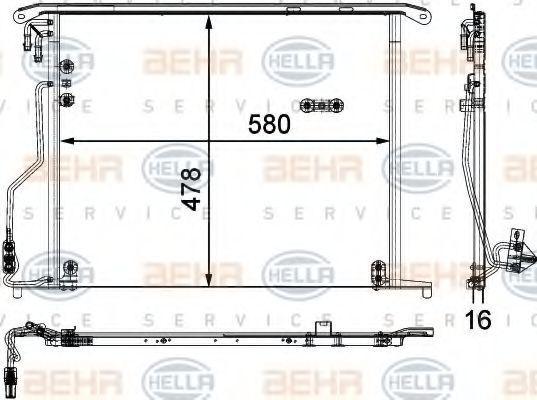 HELLA  8FC 351 301-174 Kondensator, Klimaanlage