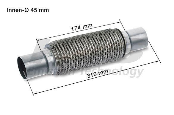HJS  83 00 8592 Flexrohr, Abgasanlage Länge über Alles: 310mm, Innendurchmesser: 45mm
