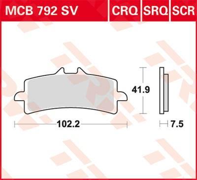 Jarrupalat MCB792SV TRW MCB792SV alkuperäisen laatuiset