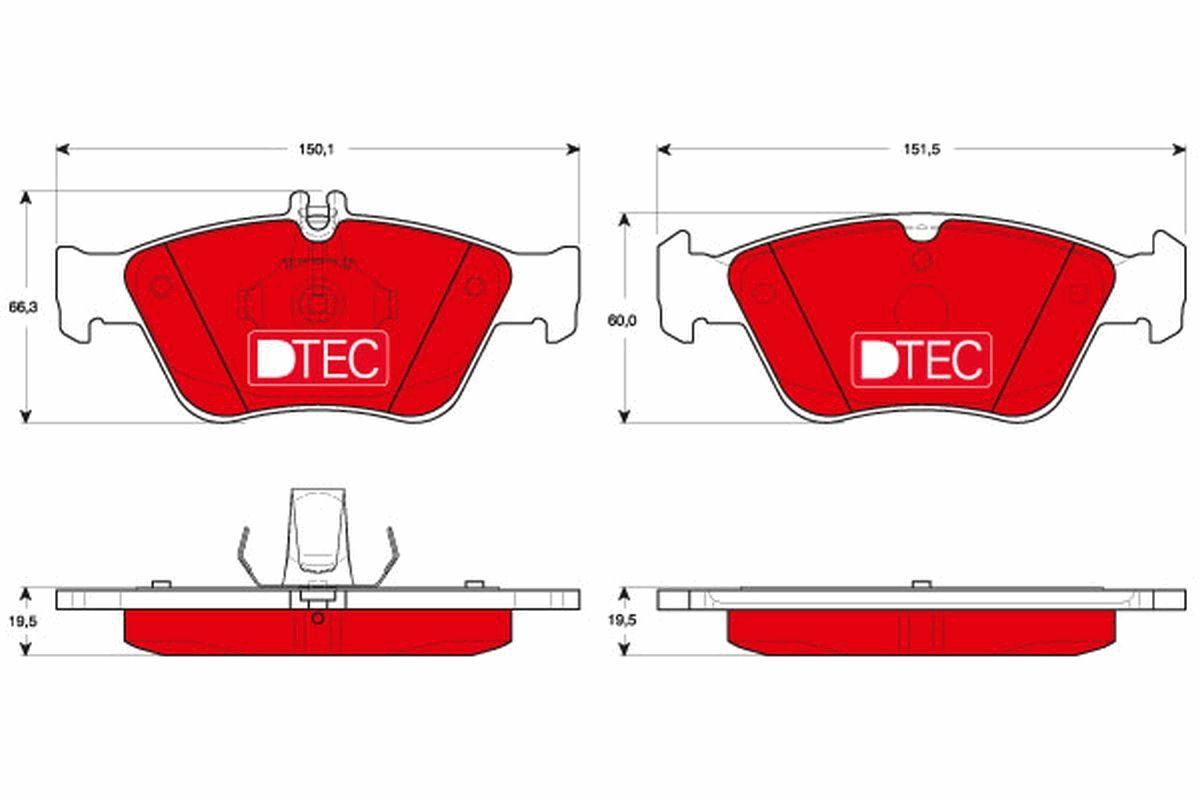 TRW DTEC COTEC GDB1205DTE Bremsbelagsatz, Scheibenbremse Höhe 1: 66,3mm, Höhe 2: 60,0mm, Dicke/Stärke: 19,5mm