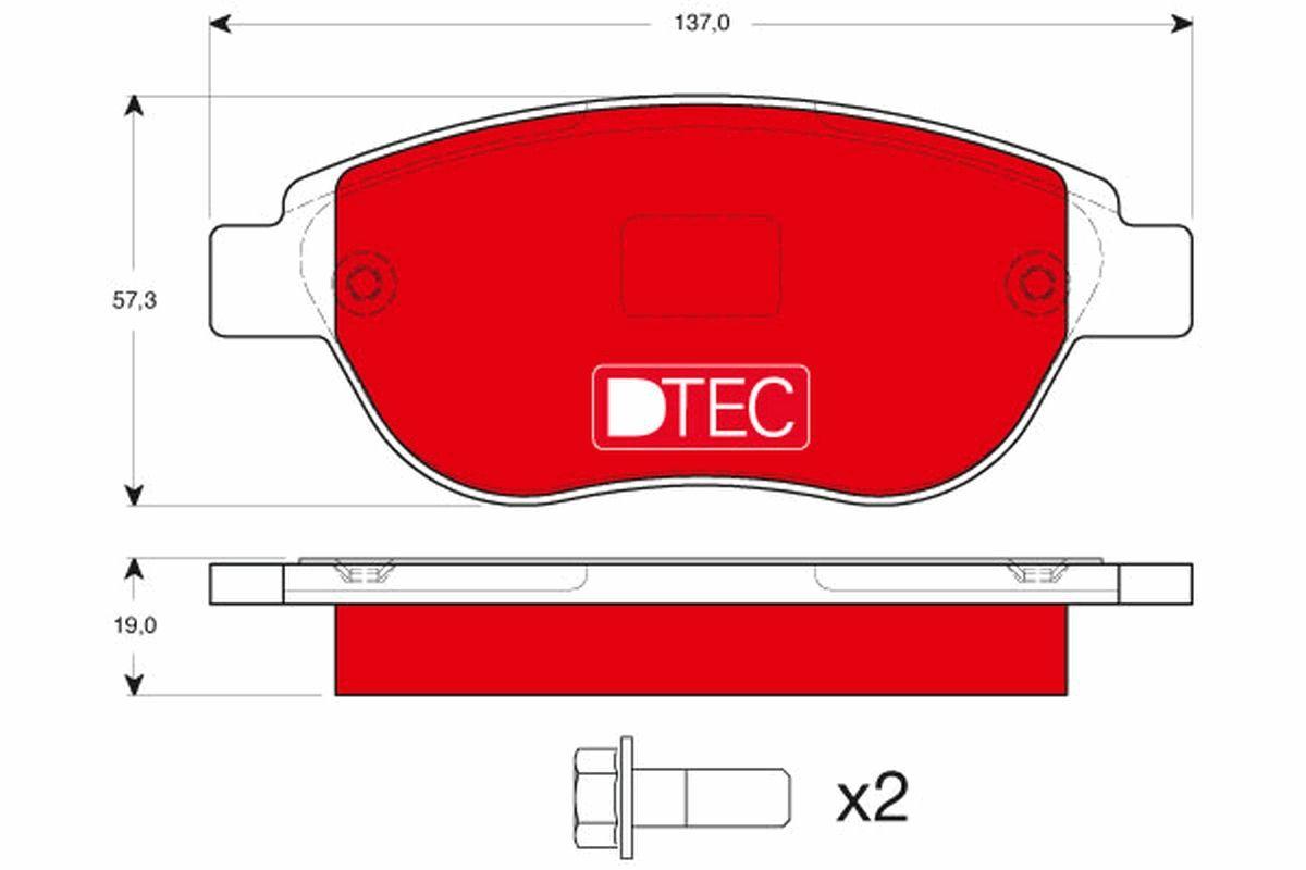 TRW DTEC COTEC GDB1464DTE Jarrupala, levyjarru Korkeus: 57,3mm, Paksuus: 19,0mm