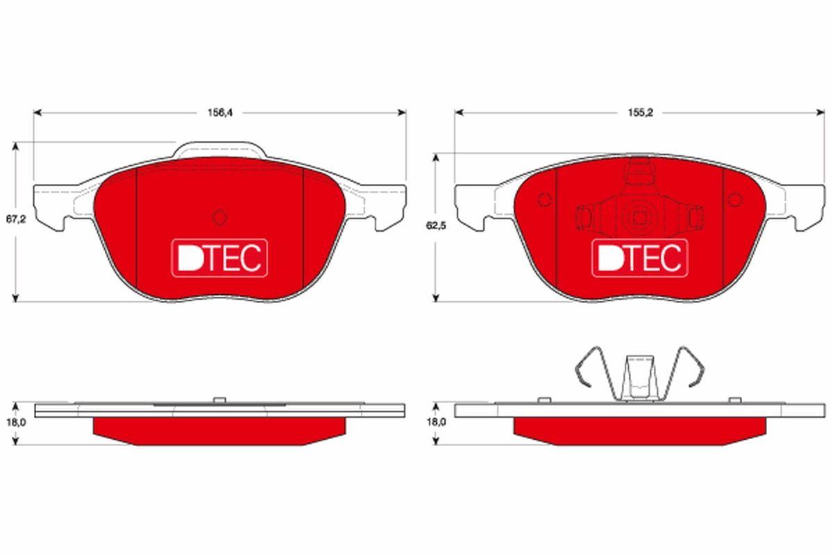 TRW DTEC COTEC GDB1583DTE Bremsbelagsatz, Scheibenbremse Höhe: 67,2mm, Dicke/Stärke: 18mm