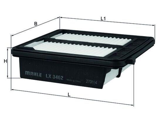 MAHLE ORIGINAL  LX 3462 Luftfilter Breite: 152, 152,0mm, Höhe: 46mm, Länge über Alles: 168,0mm, Länge: 161,0mm