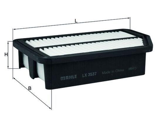 MAHLE ORIGINAL  LX 3537 Luftfilter Breite: 163, 163,0mm, Höhe: 53mm, Länge über Alles: 258,0mm, Länge: 163,0mm