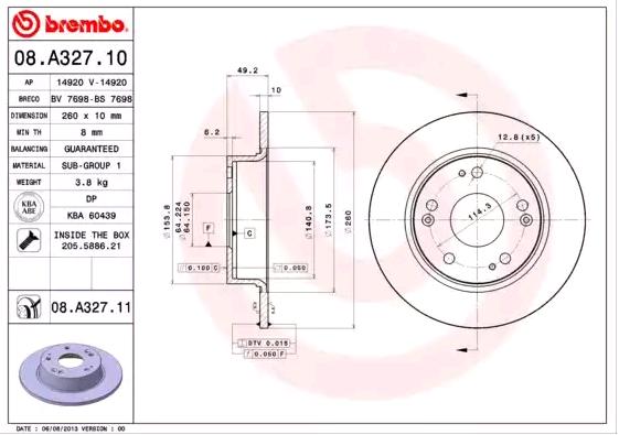 Brake Discs 08.A327.11 BREMBO 08.A327.11 original quality