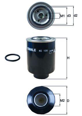 MAHLE ORIGINAL  KC 135D Fuel filter Height: 131mm, Housing Diameter: 90mm