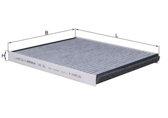 MAHLE ORIGINAL  LAK 361 Filtro, aire habitáculo Ancho: 200,0mm, Altura: 20,0mm