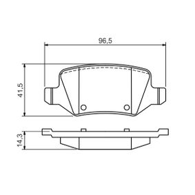 Brake Pad Set, disc brake Width: 96,5mm, Height: 41,5mm, Thickness: 14,3mm with OEM Number A41 442 00 120