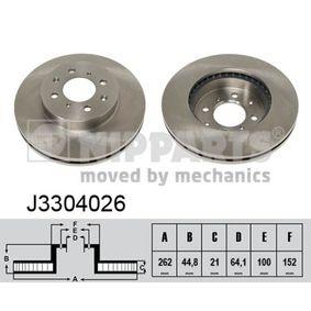 Bremsscheibe Bremsscheibendicke: 21mm, Lochanzahl: 4, Ø: 262mm mit OEM-Nummer 45251SR0A10