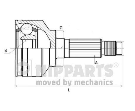 NIPPARTS  J2824002 Gelenksatz, Antriebswelle Außenverz.Radseite: 26, Innenverz. Radseite: 30