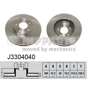 NIPPARTS  J3304040 Bremsscheibe Bremsscheibendicke: 28mm, Lochanzahl: 5, Ø: 300mm