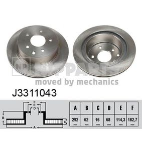 2011 Nissan Qashqai j10 1.6 Brake Disc J3311043