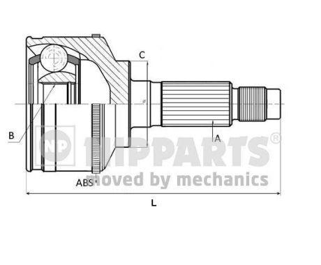 NIPPARTS  N2822143 Gelenksatz, Antriebswelle Außenverz.Radseite: 24, Innenverz. Radseite: 19, Zähnez. ABS-Ring: 48