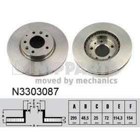Bremsscheibe Bremsscheibendicke: 25mm, Lochanzahl: 5, Ø: 299mm mit OEM-Nummer 5DA026251
