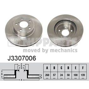 Bremsscheibe Bremsscheibendicke: 24mm, Lochanzahl: 5, Ø: 260mm mit OEM-Nummer 26310AA021