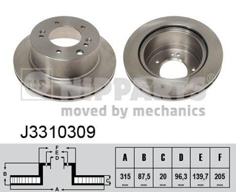 NIPPARTS  J3310309 Bremsscheibe Bremsscheibendicke: 20mm, Lochanzahl: 5, Ø: 315mm