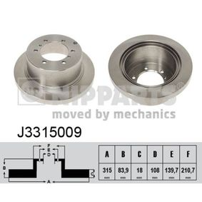 NIPPARTS  J3315009 Disco  freno Spessore disco freno: 18mm, N° fori: 6, Ø: 315mm