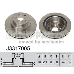 Bremsscheibe Bremsscheibendicke: 18mm, Lochanzahl: 5, Ø: 289mm mit OEM-Nummer 26700-AE070