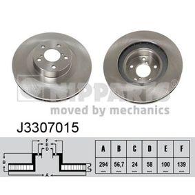 Bremsscheibe Bremsscheibendicke: 24mm, Lochanzahl: 5, Ø: 294mm mit OEM-Nummer 26300-FE040