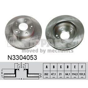 féktárcsa Első tengely bal, Első tengely jobb, Ø: 262mm, Belső hűtésű N3304053