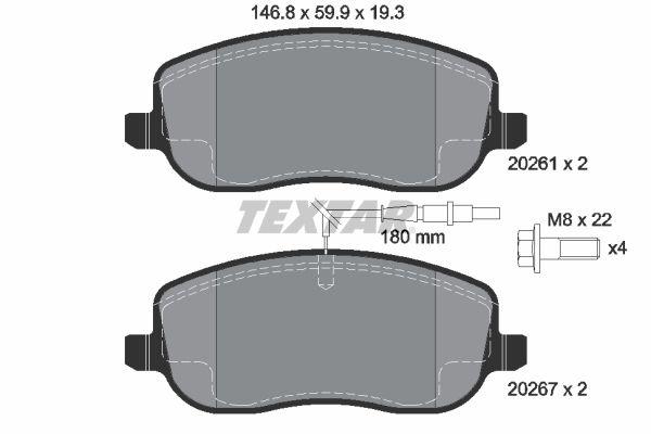 TEXTAR  2026101 Bremsbelagsatz, Scheibenbremse Breite: 146,8mm, Höhe: 59,9mm, Dicke/Stärke: 19,3mm