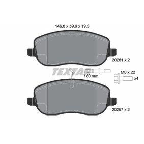 Bremsbelagsatz, Scheibenbremse Breite: 146,8mm, Höhe: 59,9mm, Dicke/Stärke: 19,3mm mit OEM-Nummer 77366761