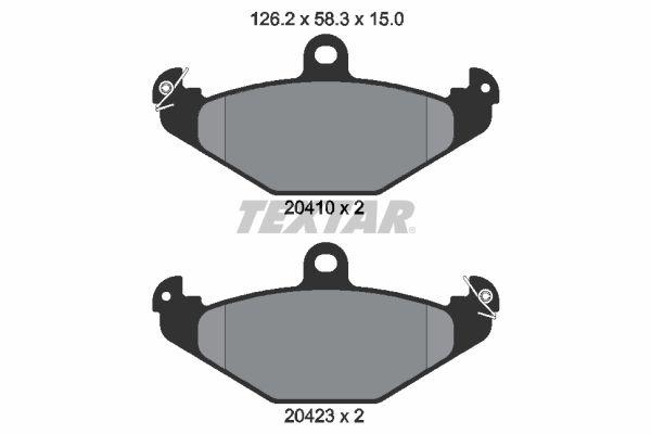 TEXTAR  2041001 Bremsbelagsatz, Scheibenbremse Breite: 126,2mm, Höhe: 58,3mm, Dicke/Stärke: 15mm