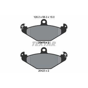 Bremsbelagsatz, Scheibenbremse Breite: 126,2mm, Höhe: 58,3mm, Dicke/Stärke: 15mm mit OEM-Nummer 7701 203 124