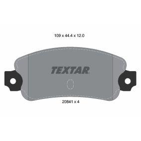 Bremsbelagsatz, Scheibenbremse Breite: 109mm, Höhe: 44,4mm, Dicke/Stärke: 12mm mit OEM-Nummer 791 873