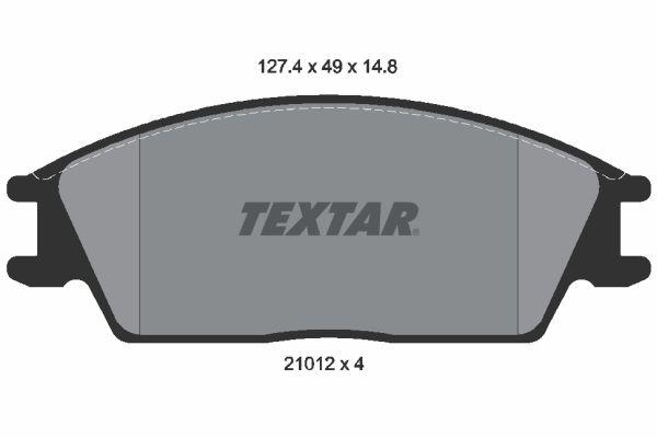 TEXTAR  2101204 Bremsbelagsatz, Scheibenbremse Breite: 127,4mm, Höhe: 49mm, Dicke/Stärke: 14,8mm