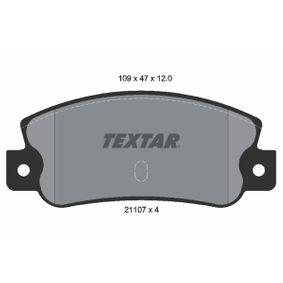 Bremsbelagsatz, Scheibenbremse Breite: 109mm, Höhe: 47mm, Dicke/Stärke: 12mm mit OEM-Nummer 5888939