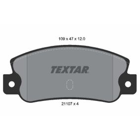 Bremsbelagsatz, Scheibenbremse Breite: 109mm, Höhe: 47mm, Dicke/Stärke: 12mm mit OEM-Nummer 793 485
