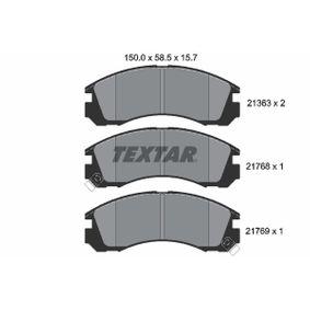 TEXTAR  2136301 Kit pastiglie freno, Freno a disco Largh.: 150mm, Alt.: 58,5mm, Spessore: 15,7mm