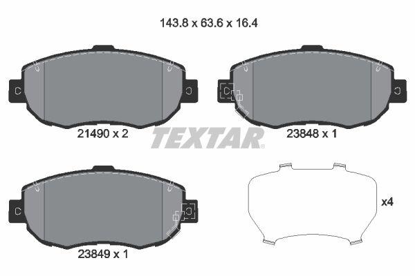 TEXTAR  2149001 Bremsbelagsatz, Scheibenbremse Breite: 144,1mm, Höhe: 63,7mm, Dicke/Stärke: 17,1mm