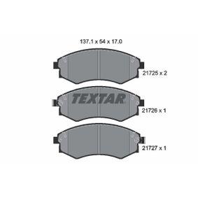 Bremsbelagsatz, Scheibenbremse Breite: 137,1mm, Höhe: 54mm, Dicke/Stärke: 17mm mit OEM-Nummer 58101-29A80