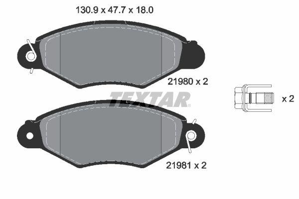 TEXTAR  2198004 Bremsbelagsatz, Scheibenbremse Breite: 130,9mm, Höhe: 47,7mm, Dicke/Stärke: 18mm