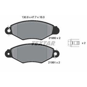 Bremsbelagsatz, Scheibenbremse Breite: 130,9mm, Höhe: 47,7mm, Dicke/Stärke: 18mm mit OEM-Nummer 9945076