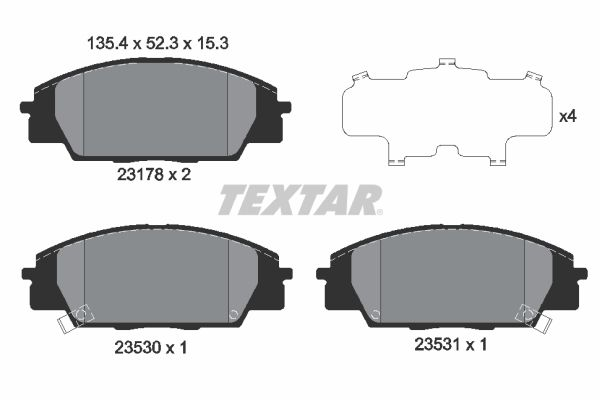 TEXTAR  2317801 Brake Pad Set, disc brake Width: 135,4mm, Height: 52,3mm, Thickness: 16mm