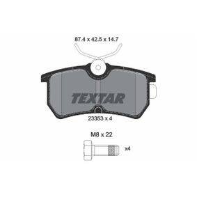Brake Pad Set, disc brake Width: 87,4mm, Height: 42,5mm, Thickness: 14,7mm with OEM Number 5382847