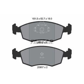 Bremsbelagsatz, Scheibenbremse Breite: 151,5mm, Höhe: 52,7mm, Dicke/Stärke: 18mm mit OEM-Nummer 9949125