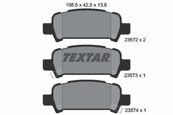 TEXTAR  2357202 Kit pastiglie freno, Freno a disco Largh.: 108,5mm, Alt.: 42,5mm, Spessore: 13,8mm