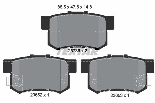TEXTAR  2365201 Brake Pad Set, disc brake Width: 88,5mm, Height: 47,5mm, Thickness: 14,8mm