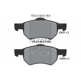 TEXTAR  2380701 Bremsbelagsatz, Scheibenbremse Breite: 172,3mm, Höhe 1: 72,3mm, Höhe 2: 69,3mm, Dicke/Stärke: 18,5mm