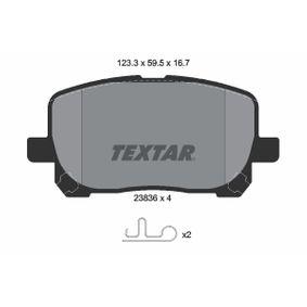 TEXTAR  2383601 Bremsbelagsatz, Scheibenbremse Breite: 123,3mm, Höhe: 59,5mm, Dicke/Stärke: 16,7mm