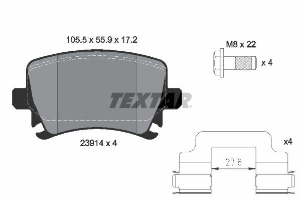 TEXTAR  2391402 Σετ τακάκια, δισκόφρενα Πλάτος: 105,5mm, Ύψος: 55,9mm, Πάχος: 17,2mm