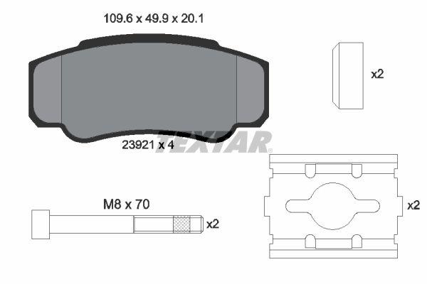 TEXTAR  2392101 Bremsbelagsatz, Scheibenbremse Breite: 109,6mm, Höhe: 49,9mm, Dicke/Stärke: 20,1mm